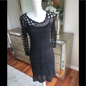 Black crochet dress-